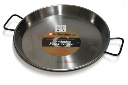 38 cm Polished Steel Flat Bottomed Paella Pan